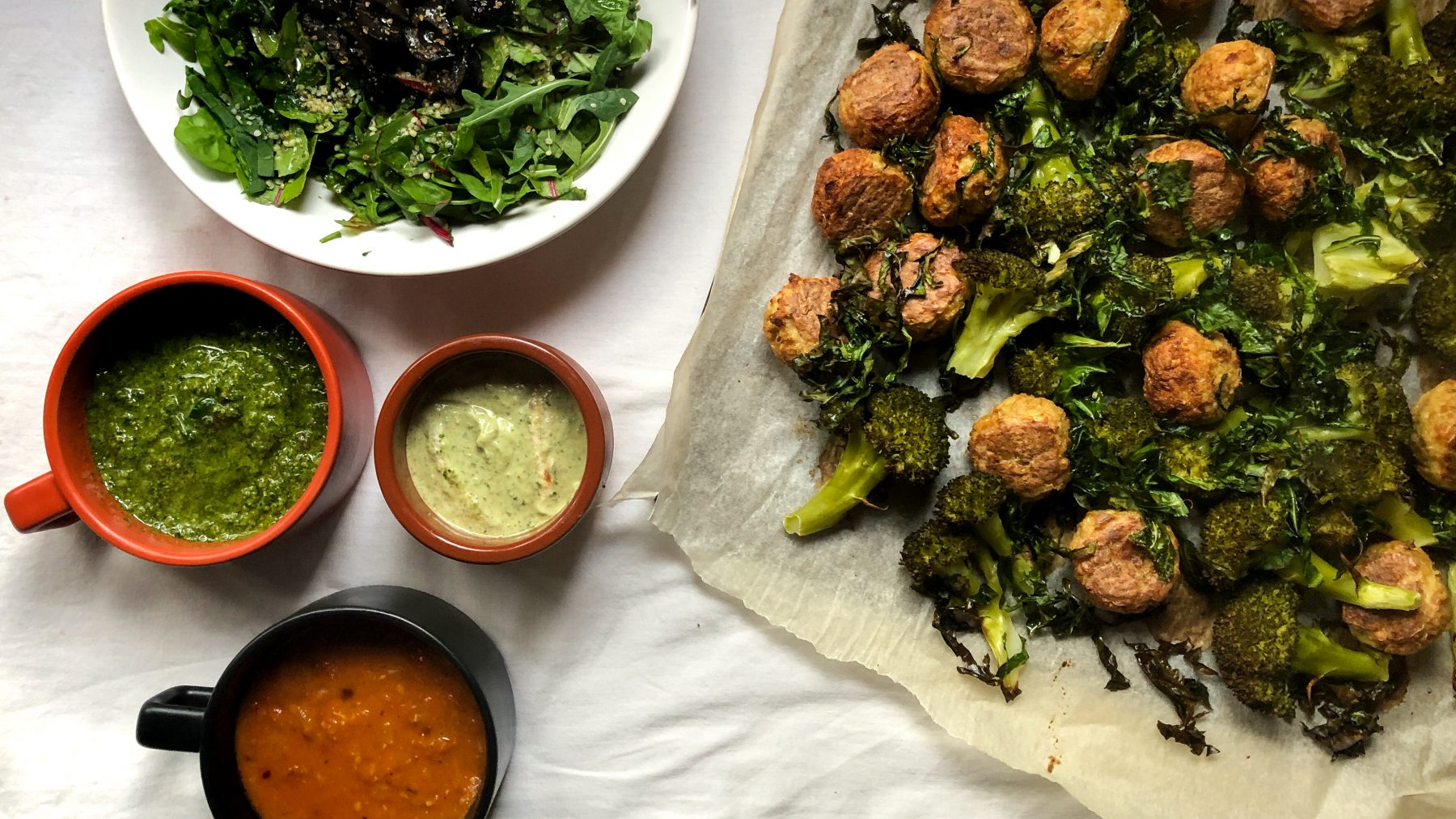 "Grilled ""Meat""balls with Charred Broccoli and Dipping Sauces"
